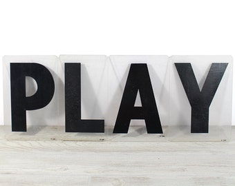 PLAY - Vintage Acrylic Marquee - 8 Inch Clear Plastic Letters