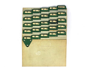 Vintage Metal A-Z Index Tabs for Filing
