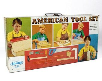 Vintage American Tool Set Litho Tin Box (Empty)