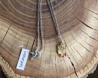 Mixed Repurposed Metal Pendant on Copper Chain