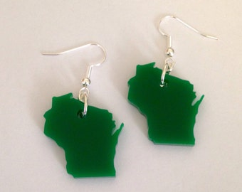 Green Wisconsin Earrings - Laser Cut State Jewelry - State Shape Earrings