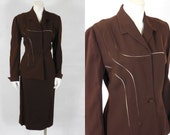 1946 1947 Vintage Lilli Ann Chocolate Brown Wool Gabardine Suit Perfect