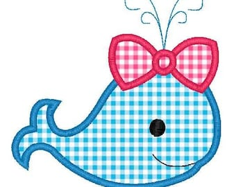 Girl Whale Applique Design