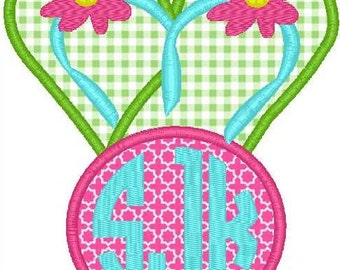 Flip Flop Monogram Machine Embroidery Applique Design