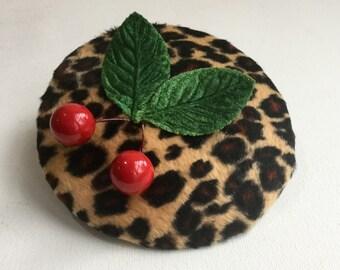 Leopard print cocktail hat - Leopard print mini hat -handmade  leopard print fascinator.