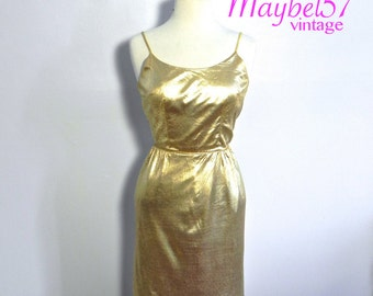 Vintage 50s Gold Metallic Dress , Rockabilly 1950s Glam Gold Sex Kitten Wiggle dress SM