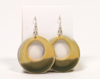 Soda Fired Porcelain Hoop Earrings