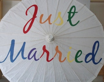 Just Married Parasol Rainbow Colorful Pride Umbrella Photo Prop White Ivory Parasol LGBT Wedding Ceremony Decoration