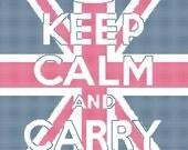 Keep Calm and Carry On Union Jack Background Cross Stitch Pattern PDF