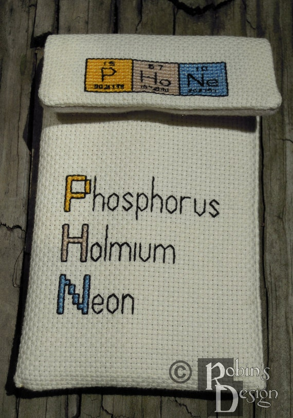 Elements Phone Case Periodic Table Cross Stitch Sewing Pattern PDF
