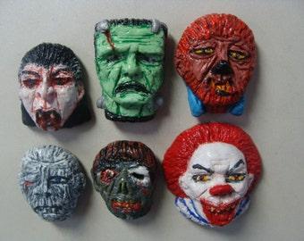 Monster Refrigerator Magnets set A(heads)