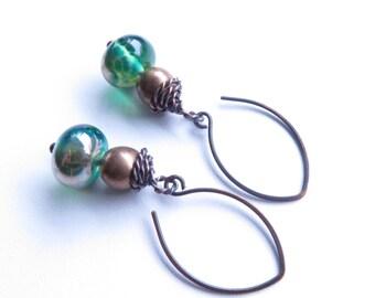 Twistie green and brass dangle earrings australian jewellery by Sasha + Max