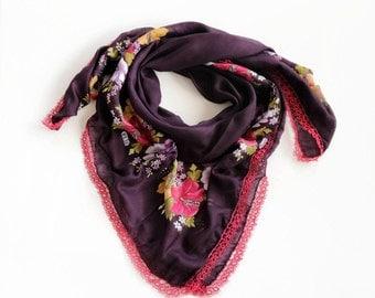 Printed Floral Scarf, Eggplant Purple BandanaTurban Scarf, Cheesecloth Bohemian Muslin Boho Authentic Scarf, Tatting Lace Trim,  OOAK