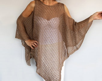 Beige Summer Poncho, Plus Size Knit Top Tunic, Oversized Mocha Kimono Beach Cover up, CrochetSpring Women Fashion Accessory, Kaftan Gift Her