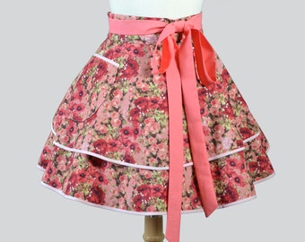 Womens Waist Aprons - Cute Flirty Full Retro Ruffled Half Apron Vintage Pink and Coral Floral Kitchen Cooking or Hostess Womans Apron