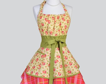 Flirty Chic Womens Aprons , Full Retro Kitchen Cooking Apron in Vintage Orange Yellow Floral and Plaid Handmade Hostess Cute Womans Apron