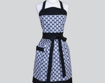 Full Womens Aprons , Cute Vintage Kitchen Cooking Black Grey and White Medallion Retro Chef Hostess Womans Apron Personalize