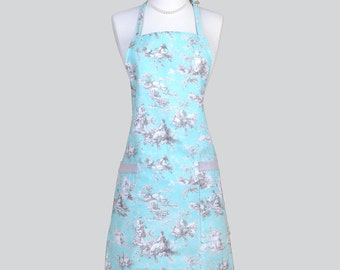 Chef Apron . Toile Turquoise Aqua Taupe Print on Washable Home Decor Fabric Cute Womens Vintage Kitchen Cooking Apron