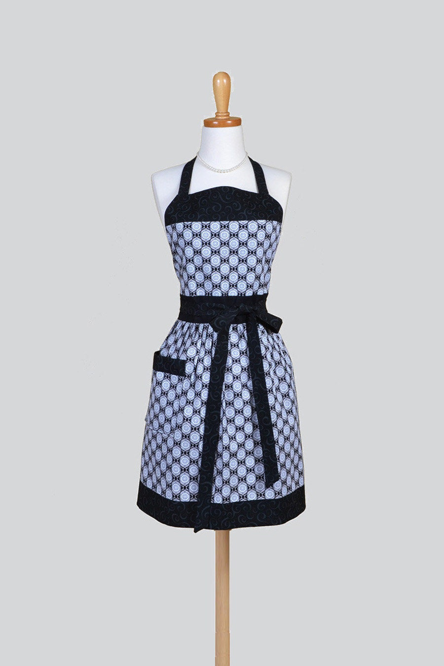 Full Womens Aprons Cute Vintage Kitchen Cooking Black Grey