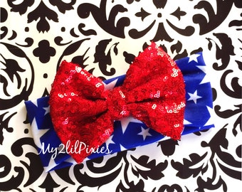 Wonder Woman Headband, Baby Girl Headbands, Forth Of July Headband, red white Blue Headband, knit Headband, sparkling bow , star headband