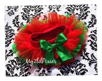 CHRISTMAS TUTU ruffles all the way around,Chiffon Baby Tutu bloomer, red and green, photo prop, newborn tutu blomer - ready to ship