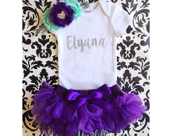 Baby Girl Take home outfit, Bloomer, Onesie and Headband set- Personalized Newborn baby Girl Onesie, Personalized Newborn Set baby clothing