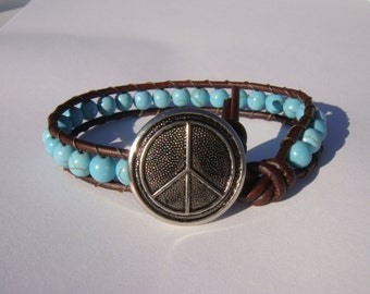 Turquoise Magnesite Beaded Leather Bracelet with Peace Sign Button