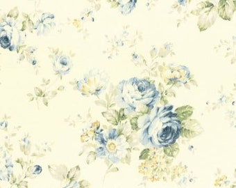 Durham Quilt 2016 Cotton Fabric by Lecien 31336-70 Blue Roses on Cream