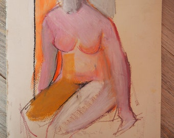 Original Pastel Drawing Nude