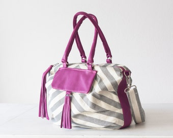 Stripe handbag white and pink, crossover bag shoulder bag crossbody purse handbag  messenger bag- Ariadne bag