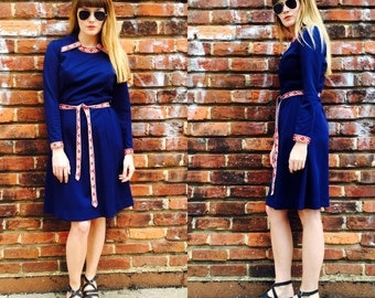 Vintage Navy and Red 70s dress