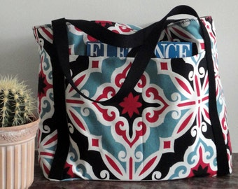 Reversible Tote bag // tile // black-white // laptop bag // diaperbag //shoulderbag //schoolbag // beach bag