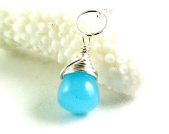 Blue Chalcedony Necklace in Sterling Silver - Blue Gemstone Pendant - AdoniaJewelry