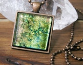 Pink-yellow-green fused glass Necklace, Square Glass Necklace, Dichroic Glass Pendant, Fused Glass Necklace Pendant, Glass Art Necklace