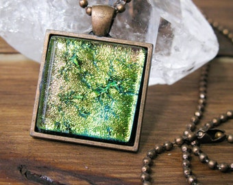 SALE, dichroic glass, fused glass pendant, glass jewelry, square necklace, colourful jewelry, art glass, handmade art