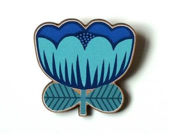 Blue Poppy Pin / Wooden Poppy Pin / Blue Poppy Brooch / Flower Brooch / Flower Pin