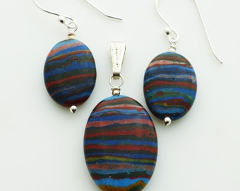 Rainbow Calsilica Oval Sterling Silver Pendant and Earrings SET EE Designs