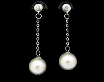 Vintage Pearl Earrings, Faux Pearl Rhinestone Earrings, Vintage Earrings, Long Dangle Chandelier, Silvertone Pierced, Chain Earrings