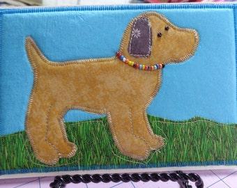 Fabric Post Card Puppy Dog