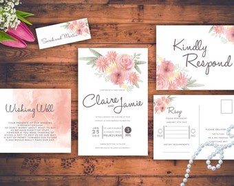 Floral Rustic Wedding Invitations Pink