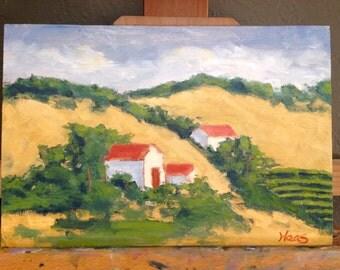 FRONTAGE ROAD VINEYARD - 8 x 12 - Plein Air - Landscape - Original Oil Painting - Honey's Colors - Honeystreasures - Art - Home Decor - Sale