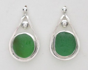 Sea Glass Jewelry - Sterling Green Sea Glass Post Earrings