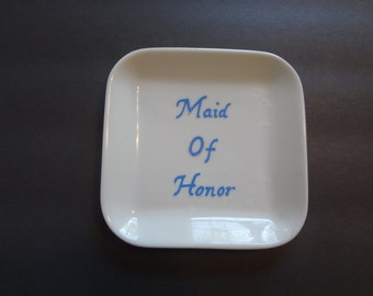 Handpainted Wedding Jewelry Dish, Maid of Honor gift, Wedding Favor, Jewelry Holder, Bridesmaid Gift, Jewelry Dish, Painted Jewelry Dish,