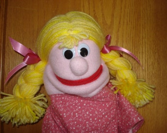 Girl hand puppet blond braids pink dress moveable mouth 2 arm rods