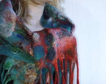 Summer 50% Sale - Nuno Felted Scarf Shawl Wrap  Turquoise Emerald Terracotta Art Unique OOAK