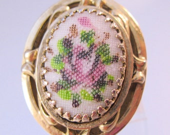 1960s Vintage Whiting & Davis Big Ring Adjustable Pink Rose Costume Jewelry Jewellery