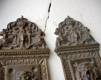 Antique Ornate Cast Bronze Door Plates VERY DETAILED VERY Heavy Neo Classical Egyptian Revival Pharaoh Egg & Dart