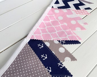 Bunting Banner, Photography Prop, Fabric Flags, Nautical Girl Nursery Decor - Baby Pink, Gray, Grey and Navy Blue Chevron, Anchors, Dots