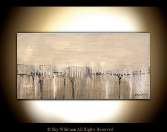 Large Painting Original Textured Art Cream Sand Taupe Abstract Painting High Gloss Modern Art 24x48 by Sky Whitman