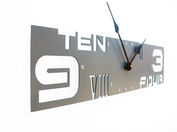 Outnumbered IV, Large Wall Clock, Dark Gray Wall Clock, Unique Wall Clock, Modern Wall Clock, Steampunk Wall Clock, Industrial Wall Clock